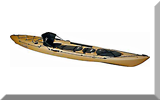 a kayak rigged for saltwater fishing