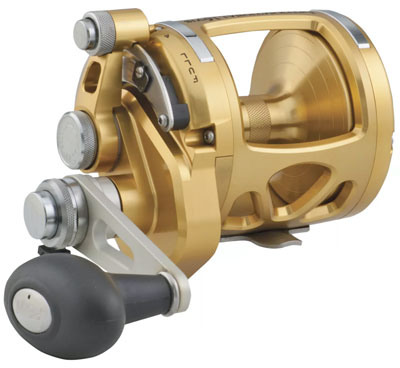 A PENN International VIS Gold Two-Speed Lever Drag Reel