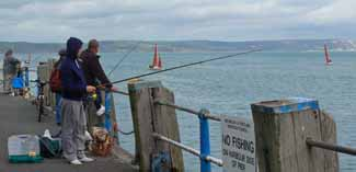 Pier fishing from Weymouth pier in the UK