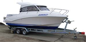 A well-matched boat and trailer. Choosing  too light a trailer for the boat it carries can be really dangerous...