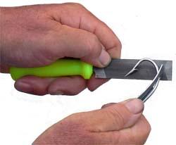 A fishing hook sharpening file