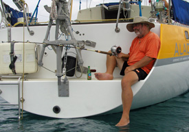 Fishing from a sailboat