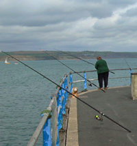 An unattended pier fishing rod