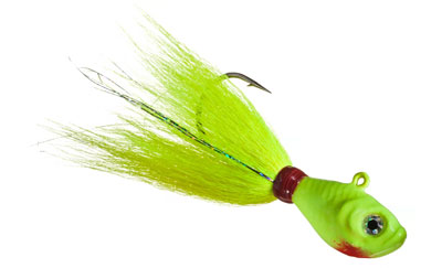 Examples of bucktail jigs for saltwater fishing