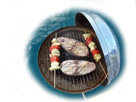 Fish steaks in the barbecue
